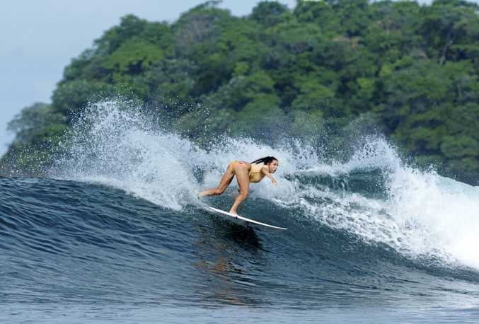 POSSIBILITY: Kingscliff's Codie Klein tears it up in Panama at a surf reef similar to Kingscliff proposal.