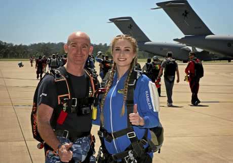 Group Captain Adam Williams with Brisbane Legacy Youth Ambassador Brianna Anderson.