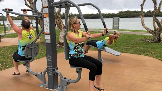 Tweed Dragon Boat Club members Geoff Holdsworth, Deb Sirach and Colleen Drysdale are using the new John Follent Park exercise equipment for their cross-training.