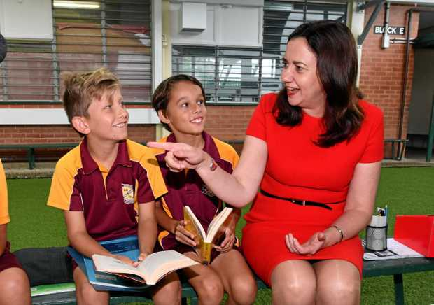 BACK TO SCHOOL: Queensland Premier Annastacia Palaszczuk chats  with  students at Edge Hill State Primary School in Cairns on the campaign trail yesterday.