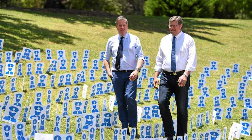 LAW AND ORDER: Tim Nicholls and Toowoomba North MP Trevor Watts are promising more police.