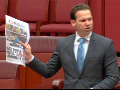 Matt Canavan quotes from The Observer and The Morning Bulletin in the Senate yesterday to make an example of the effects of the Adani announcement.