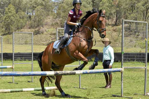 TECHNIQUE TIPS: Former Queensland inter-school representative Amilia Schooley and Grand Exito go through their paces for seven-time Olympian Andrew Hoy at an equestrian workshop at the Toowoomba Showgrounds.