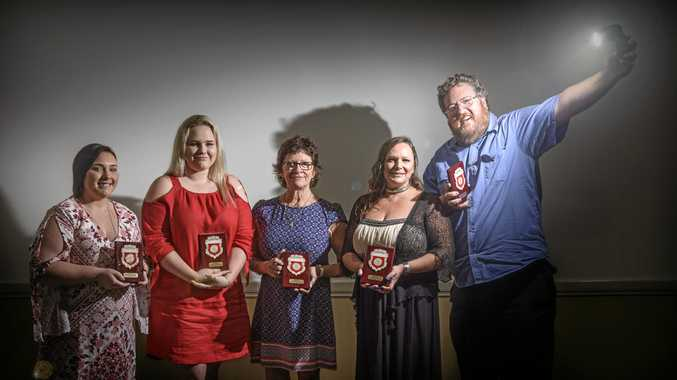 COMMUNITY CONTRIBUTION: Kimberley Brotherson, Isabella Runge, Amanda Doyle, Vanessa White and Adam Hourigan were awarded Pride of Workmanship plaques at a Grafton Rotary Club dinner on Monday night.