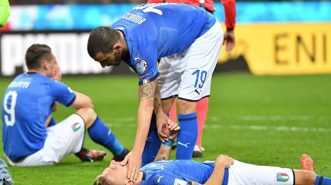 Italian players react to their World Cup failure.