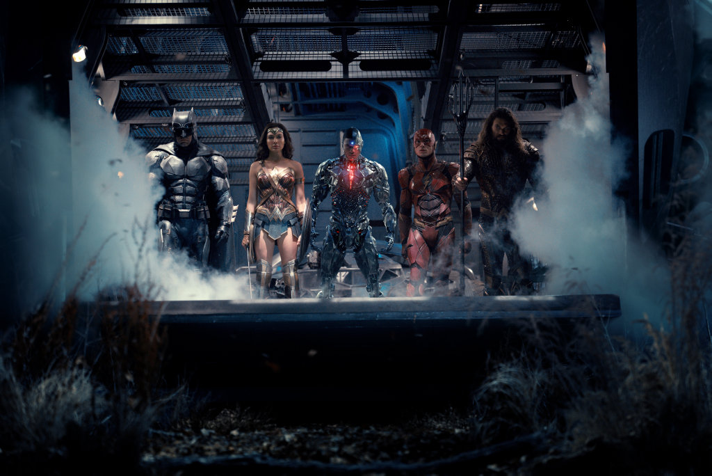 Ben Affleck, Gal Gadot, Ray Fisher, Ezra Miller and Jason Momoa in a scene from the movie Justice League.
