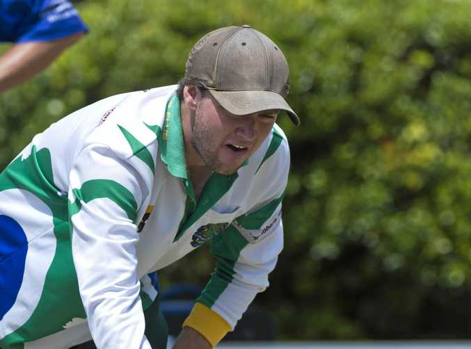 Justin Weir in action for Toowoomba Bowls Club.