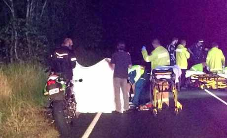 Motorbike crash near the corner of Rubyanna Rd and Strathdee Rd Burnett heads.