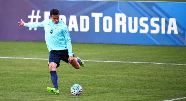 Socceroo Tim Cahill trains for the clash with Honduras.