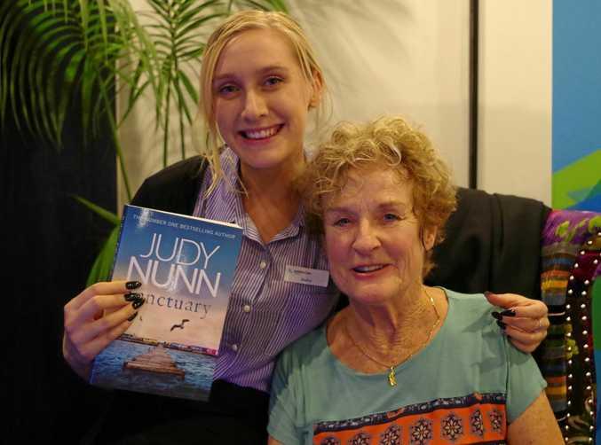 CELEBRITY VISIT: Sasha Maddison and Judy Nunn.