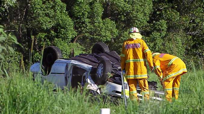 A man, aged in his 20s, has died after his car left the roadway while travelling west on Waterfall Way and rolled multiple times.