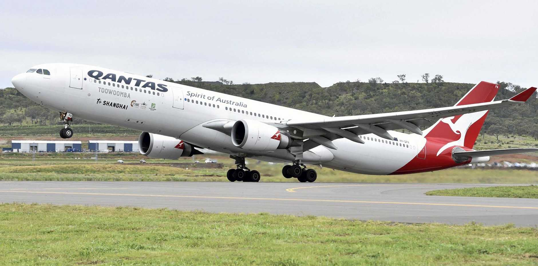 A Qantas plane takes off from Wellcamp Airport.