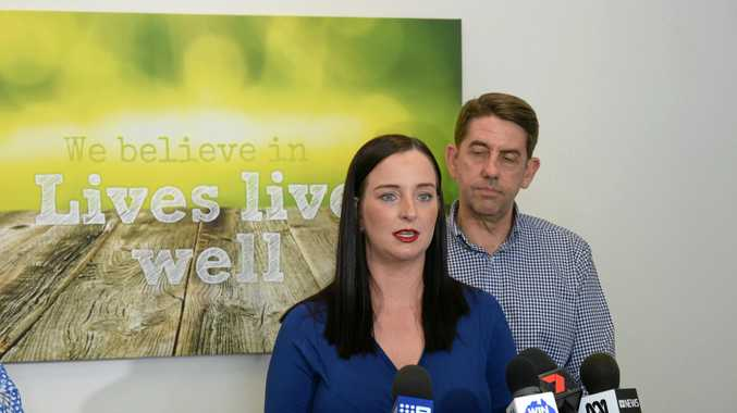 Member for Keppel Brittany Lauga addressing media at the announcement for the $14.2m funding for a rehab clinic in Rocky for ice users.