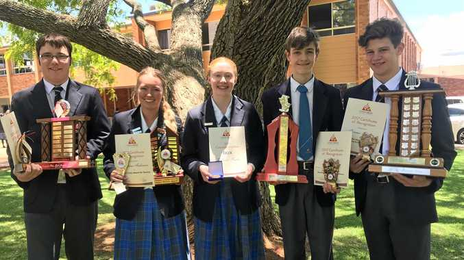 WINNERS: Concordia Lutheran College Year 12 award recipients (from left) Tristan Bennett, Montana Anderson, Rebecca Peake, Ewan Brown and Connor Sharpe celebrate at their awards ceremony.