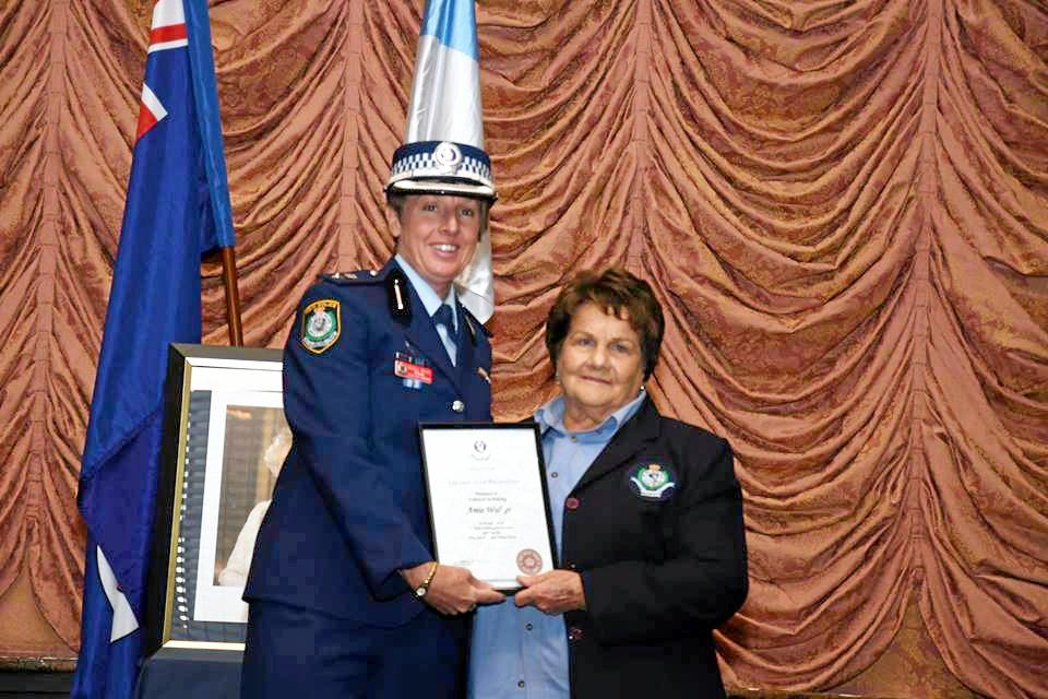Amie Walker, a Volunteer in Policing at Lismore for more than 15 years pictured with Inspector Nicole Bruce, has passed away.
