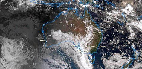 Satellite image of a massive weather system over eastern Australia.