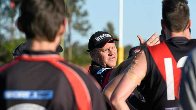 Bomebrs coach Darren Hunter. Bay Power v Hervey Bay Bombers. AFL Wide Bay preliminary final at Coulthard Oval, Bundaberg.
