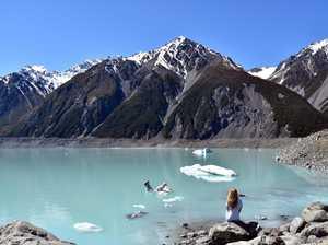 Tasman Glacier Lake walk at Mt Cook.