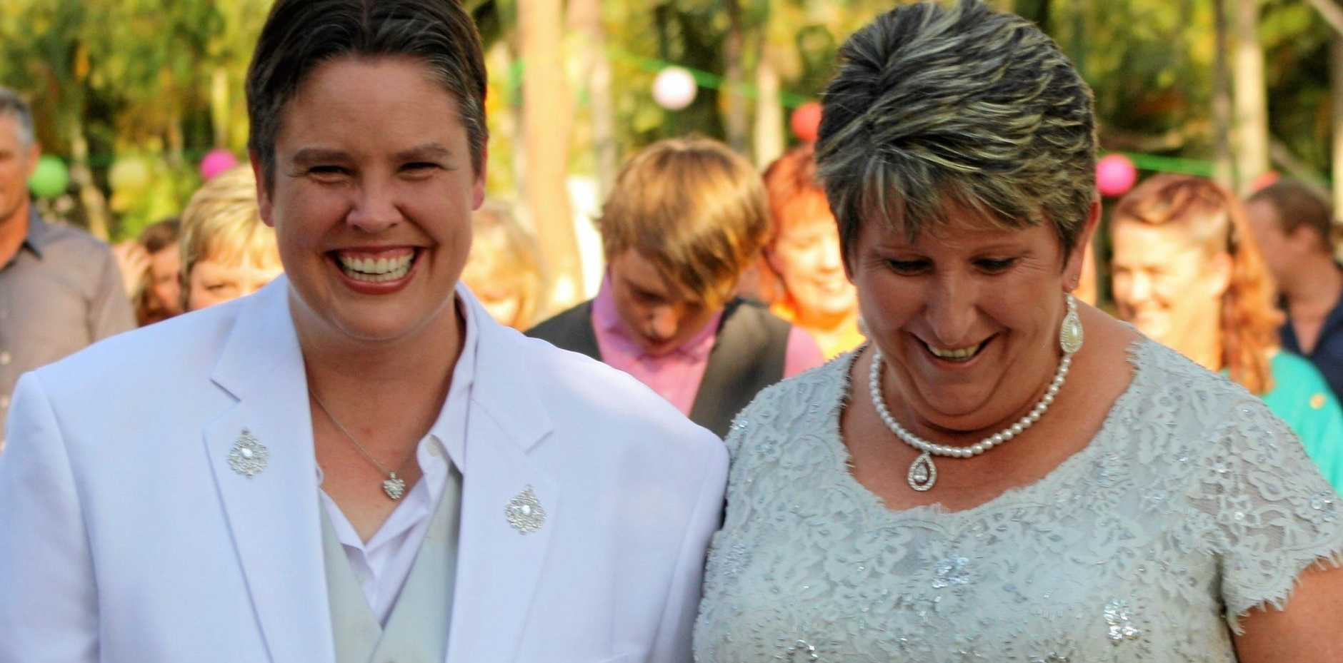 LOVE WINS: Gemma Mann and her partner Debbie Gilson celebrated their wedding in 2012 and wait for it to be legally recognised after a 'yes' outcome.