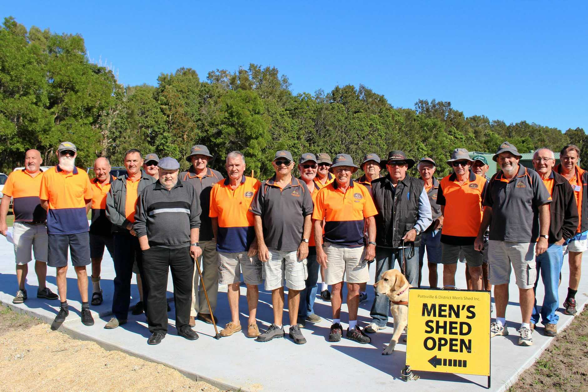 HAPPY FOR NOW: Pottsville Men's Shed members on site at their new Black Rocks facility.
