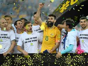 TICKET TO RUSSIA: The Australia players celebrate winning the 2018 FIFA World Cup Intercontinental play-off football match between Australia and Honduras at Stadium Australia in Sydney on Wednesday night.