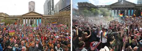 The crowd waits for the same-sex marriage survey result in front of the State Library of VIctoria in Melbourne, left, and right, a moment after the result is read out.
