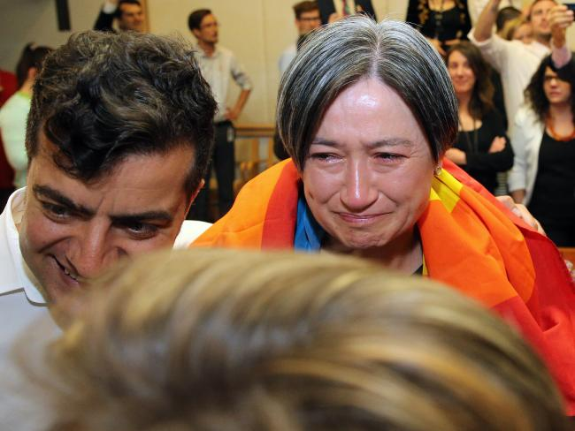 The same-sex marriage vote was watched by a vey emotional Senator Penny Wong and the politicians from all parties in Parliament House in Canberra. Picture Gary RamageSource:News Corp Australia