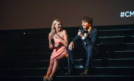 Kelsea Ballerini and Morgan Evans pictured hosting the 2016 CMC Music Awards in Brisbane.