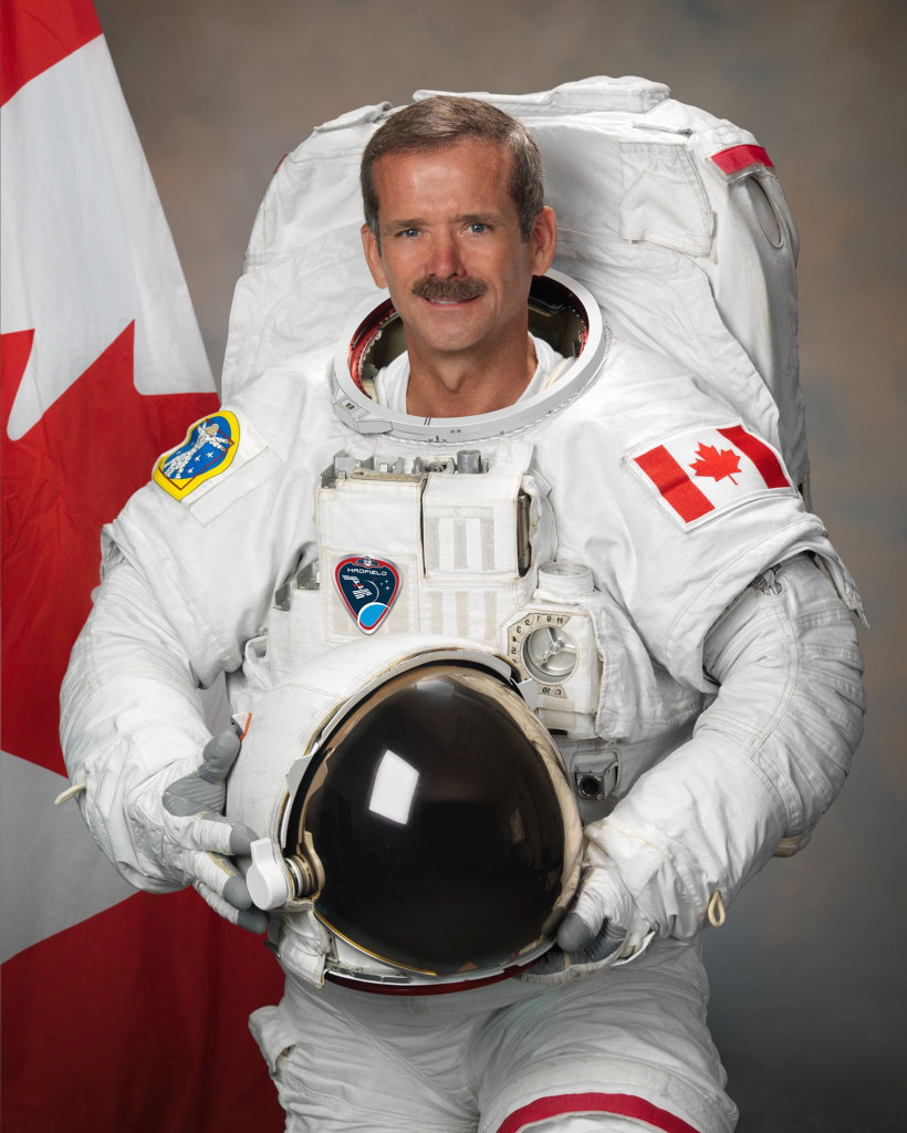 Canadian astronaut Chris Hadfield in his EMU suit in July, 2011.