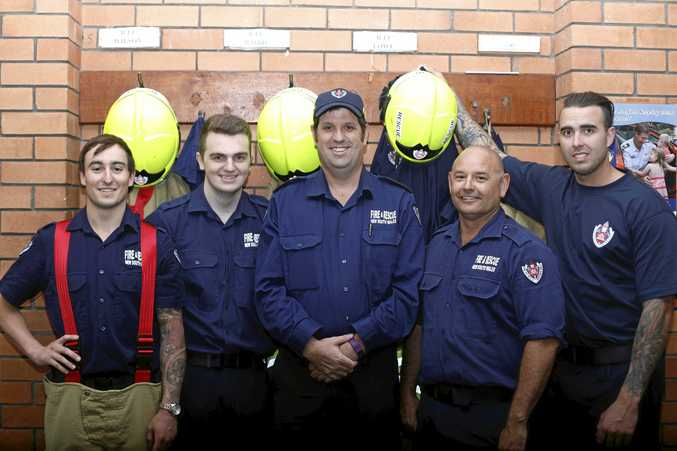 AT THE READY: Kingscliff firefighters Jarrod James, Daniel Cottrill, Josh O'Brien, Peter Baird and Joel Wilson have seen an increase in call-outs in the last few years.