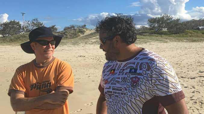 FRESH IDEAS: Noosa CEO Brett de Chastel in camp with Kabi Kabi's Kerry Neal.
