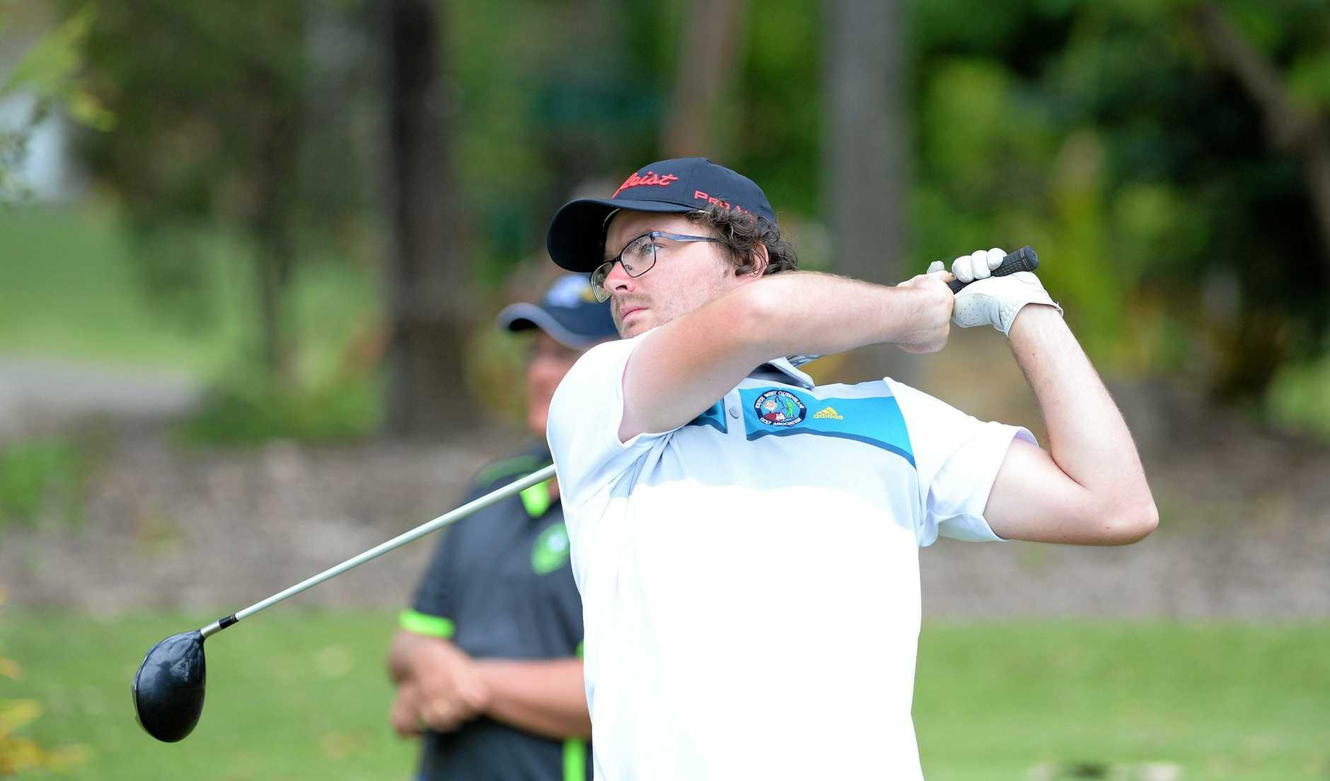 Sam Wade swings into action at the Rockhampton Golf Club.