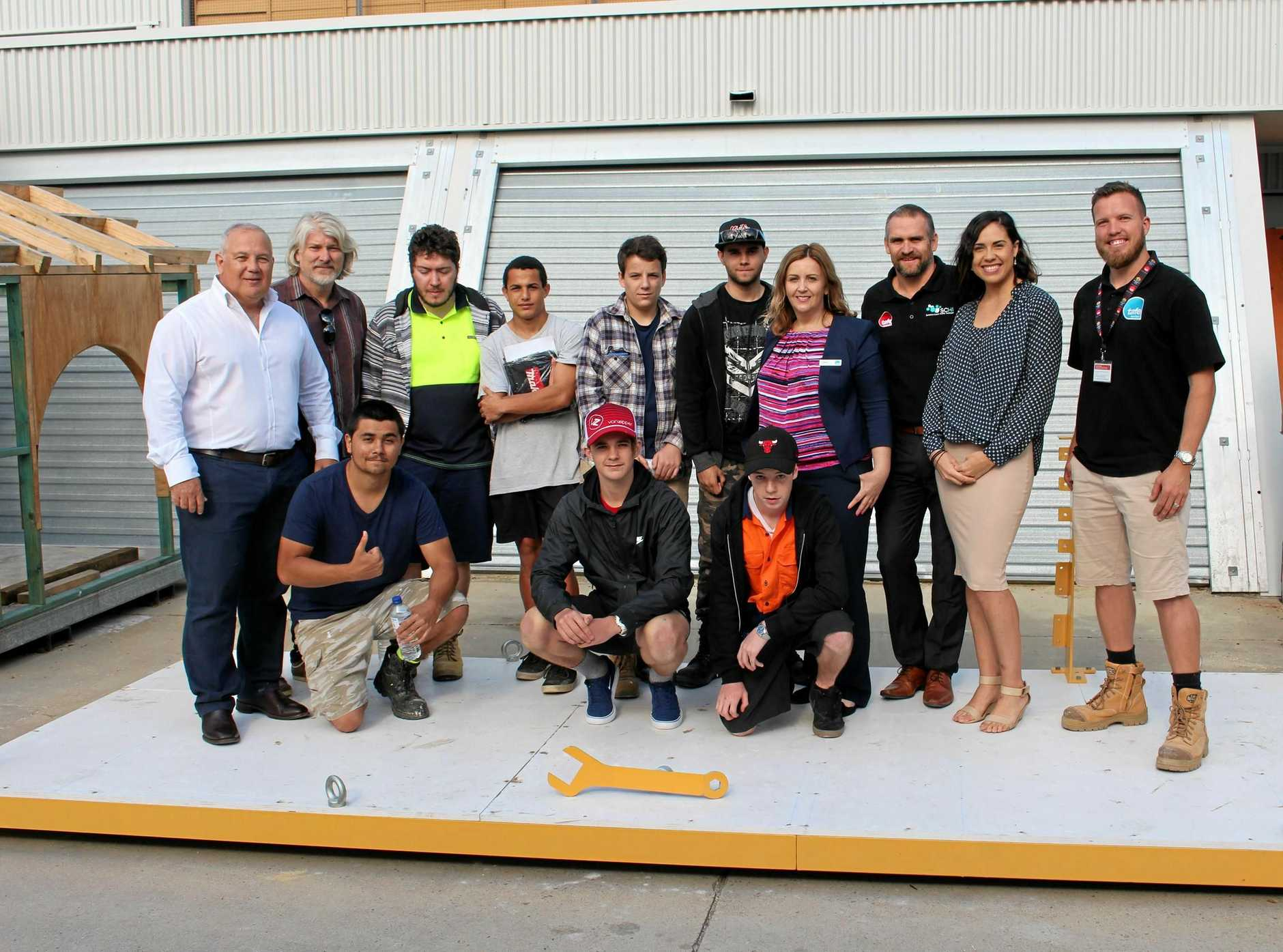 CEMENTING PARTNERSHIP: Students from Nambour TAFE with members of the Nambour Alliance and organisers of the Nambour Parklet project.