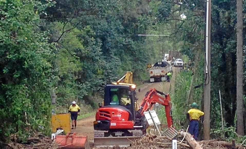 Kyogle Council staff at work on the Williams Road Bridge.