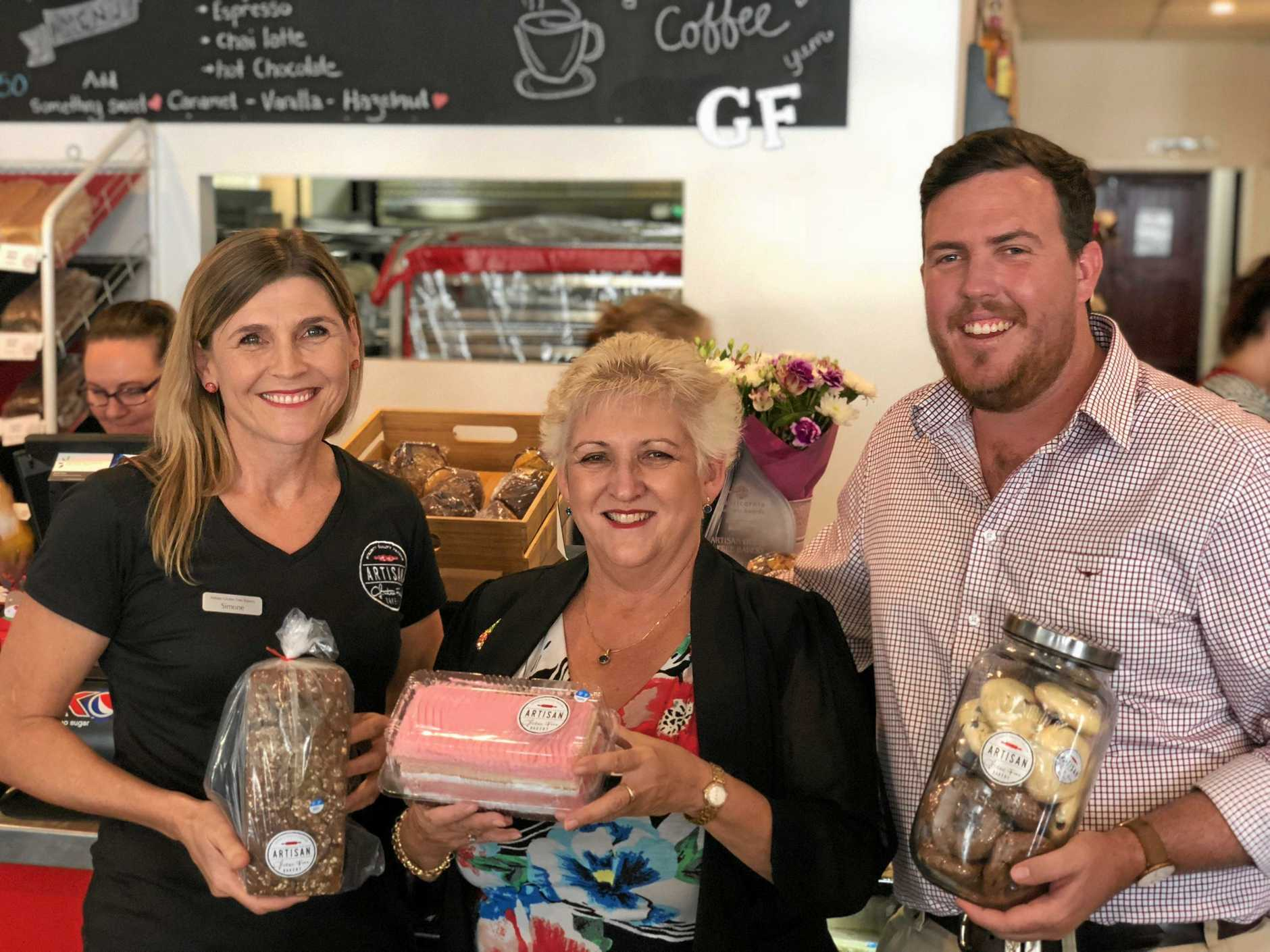 IN FOCUS: Artisan Gluten Free Bakery owner Simone Lawrie with Capricornia MP Michelle Landry and Rockhampton LNP candidate Douglas Rodgers, who say businesses in the region will benefit from Rookwood Weir.