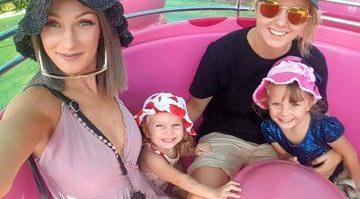 Moranbah's Kijana Meulman and Brisbane's Letisha Hick with daughters Jaylie (5) and Jaycee (2).