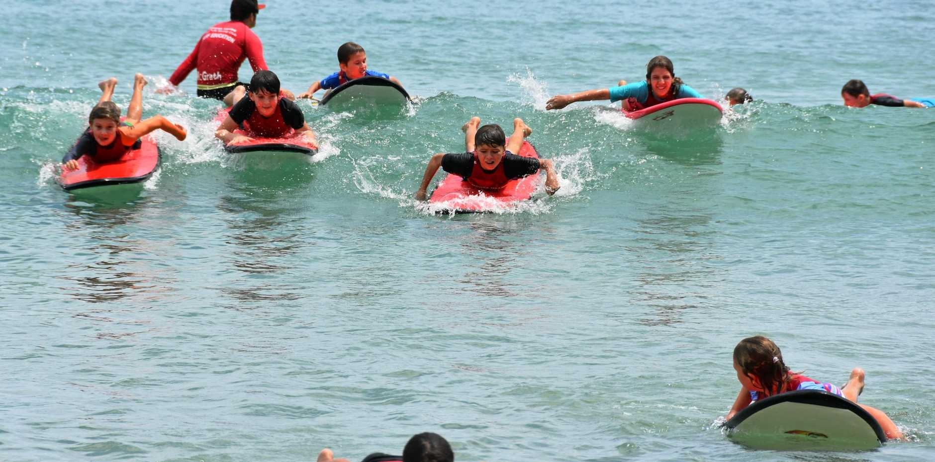 EUMUNDI State School kids enjoyed the tame waves during surf awareness training earlier this week. Forecasters are predicting a considerable jump in swell conditions throughout Sunday and into Monday.