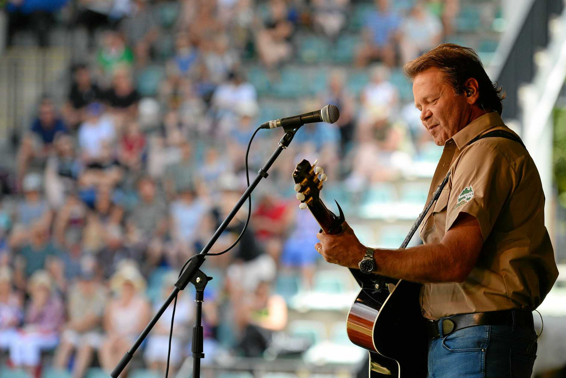 Steve Irwin Day at Australia Zoo, November 15, 2017. Troy Cassar-Daley performed for the crowds, and made his imprint on the zoo's walk of fame.
