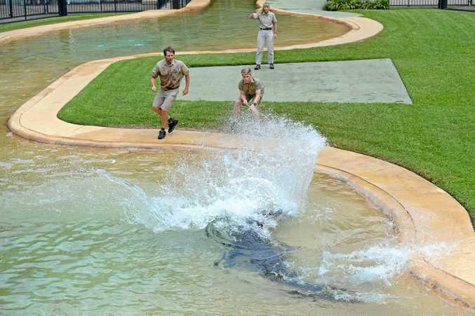 Steve Irwin Day at Australia Zoo, November 15, 2017. The Irwins feed the crocodiles.
