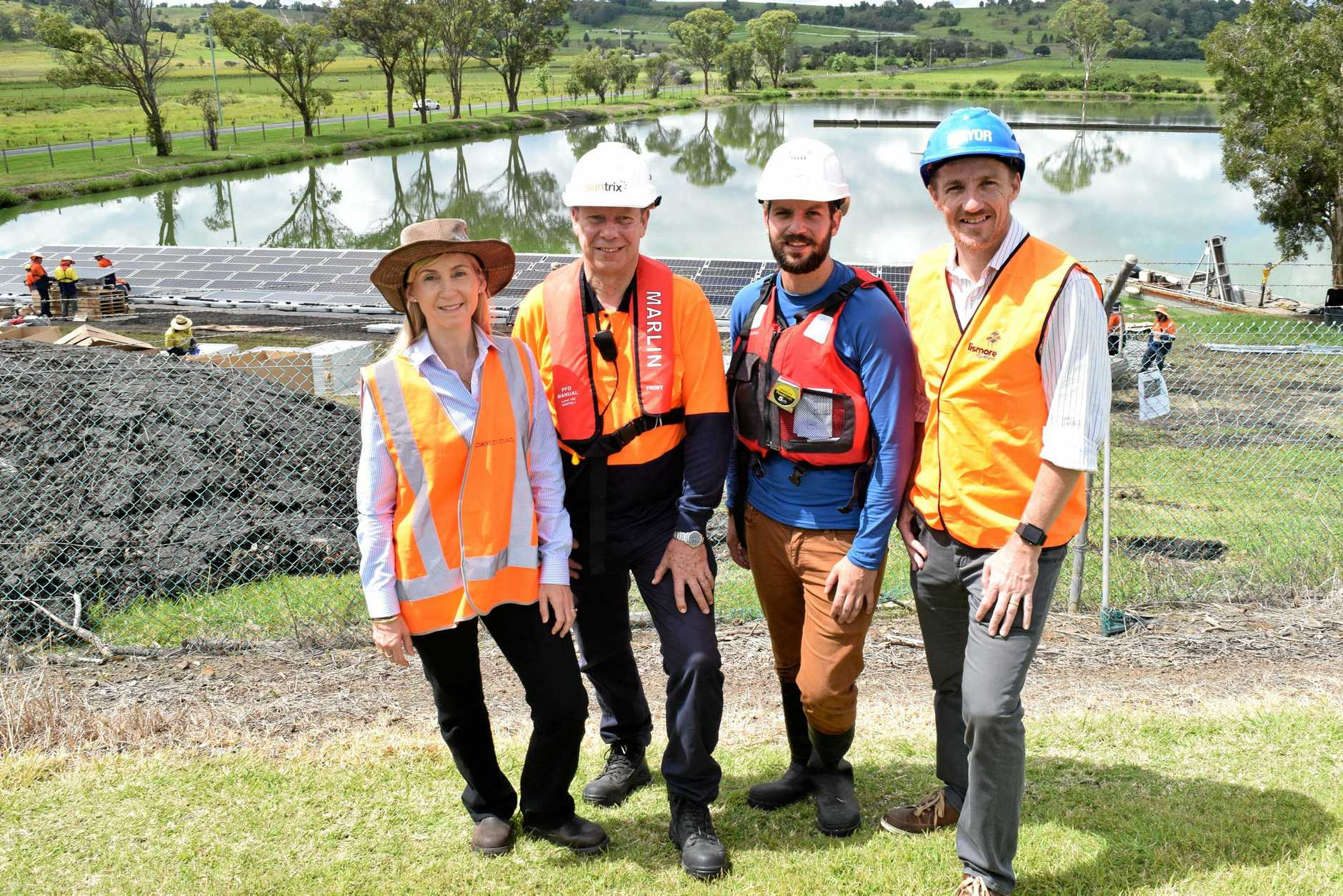 The new sewage plant could be installed as early as tonight. From left Sharyn Hunnisett, Geoff Fussell, Vincent Pinchou and Isaac Smith.