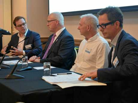 Australian Chamber of Commerce in Shanghai CEO Udo Doring, Sunshine Coast Mayor Mark Jamieson, political commentator Graham Young and Bank of Queensland executive Simon Ovenden address a conference at Twin Waters.