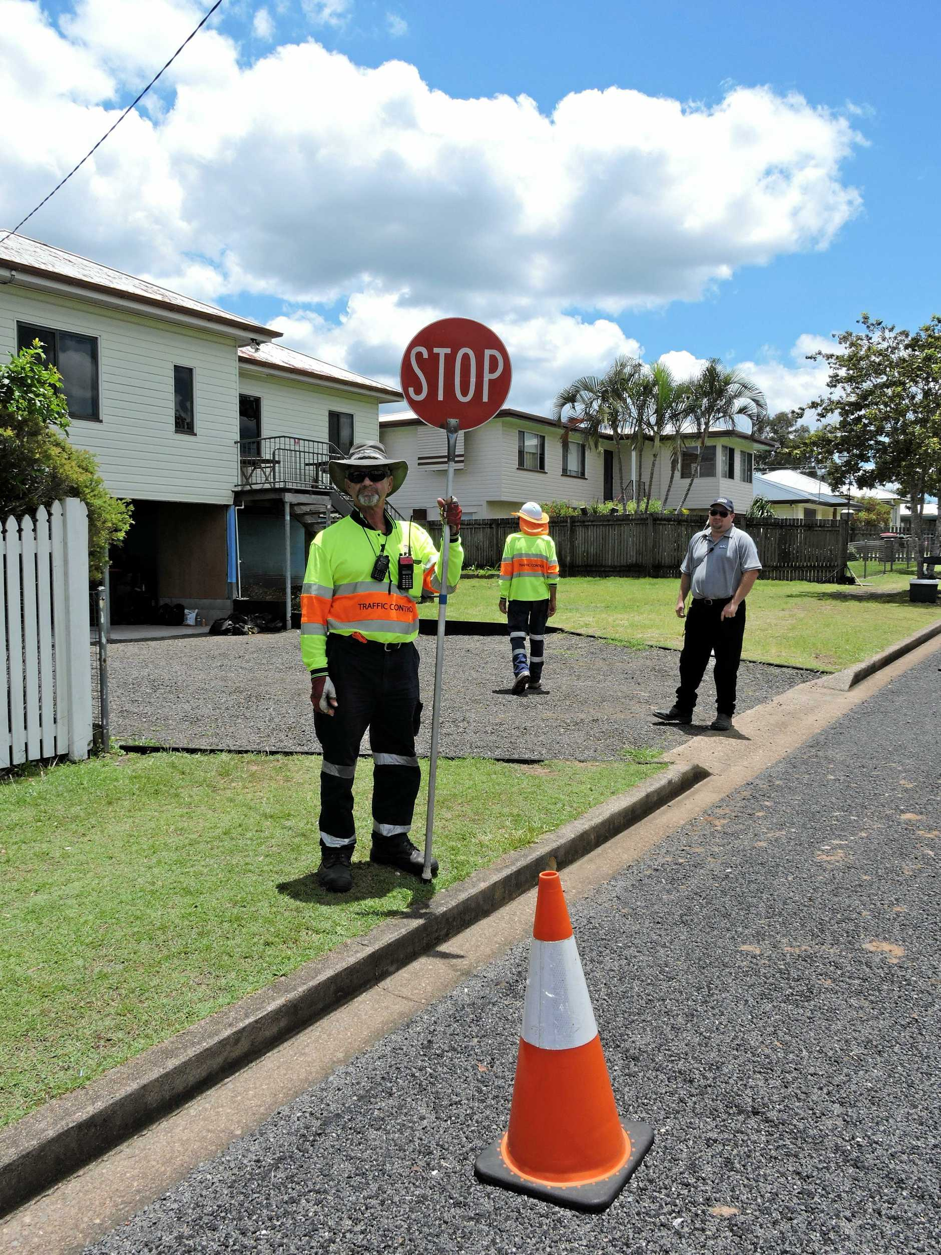 Frank from Hervey Bay Traffic is ready for any road issues during the Reality TV show House Rules renovations of a Neptune St home in Maryborough.