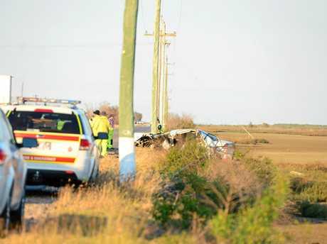 The wreckage from the Bajool car crash. Photo Austin King / The Morning Bulletin