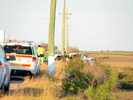 The wreckage from the Bajool car crash. Photo Austin King / The Morning Bulletin