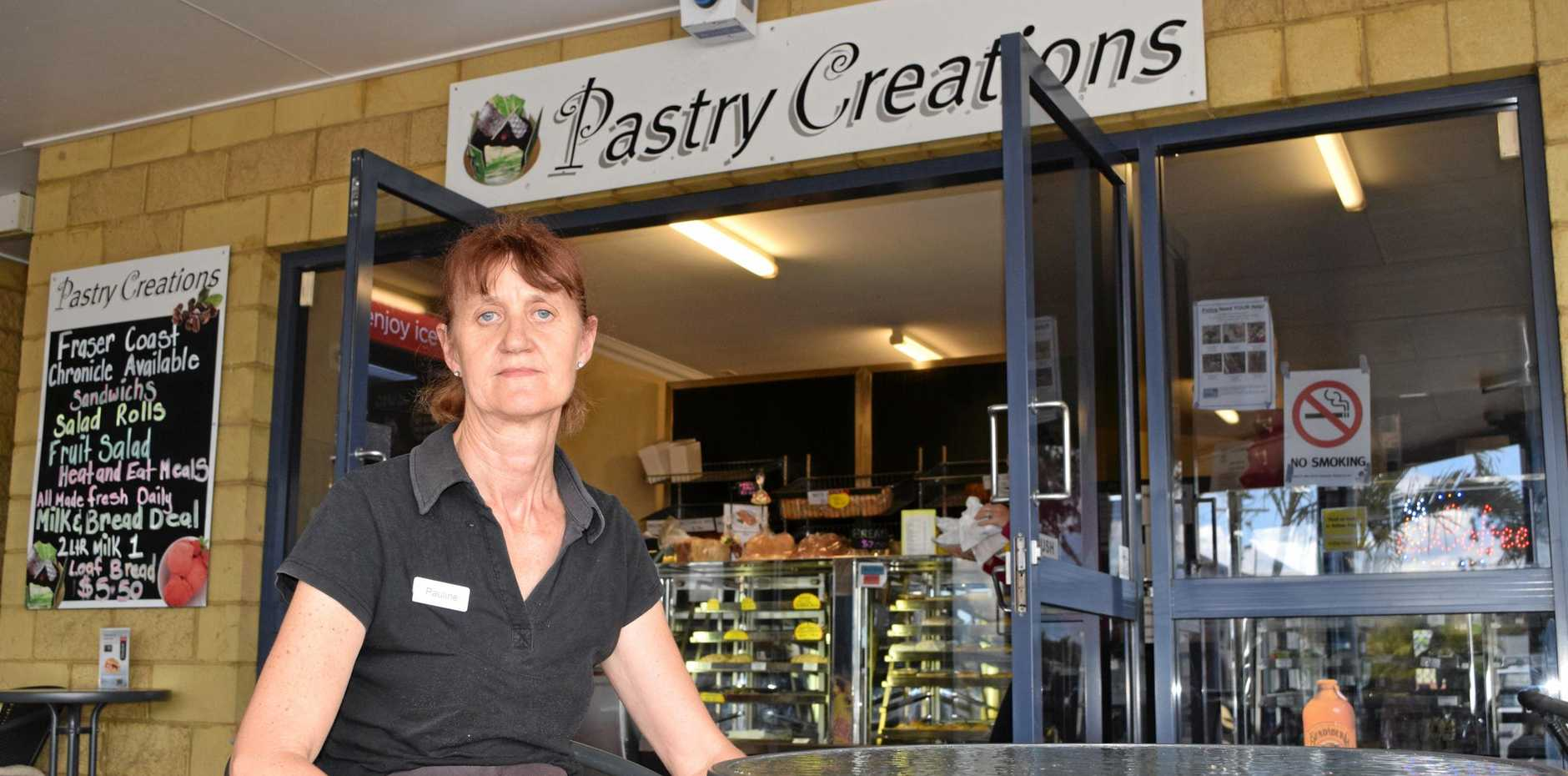 UNHAPPY ROADWORKS: Pauline Mowat, who works at Tinana's Pastry Creations, isn't happy with the proposed roadworks.