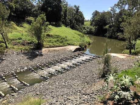 COMPLETED FISHWAY: The completed fishway in the river at Kyogle.