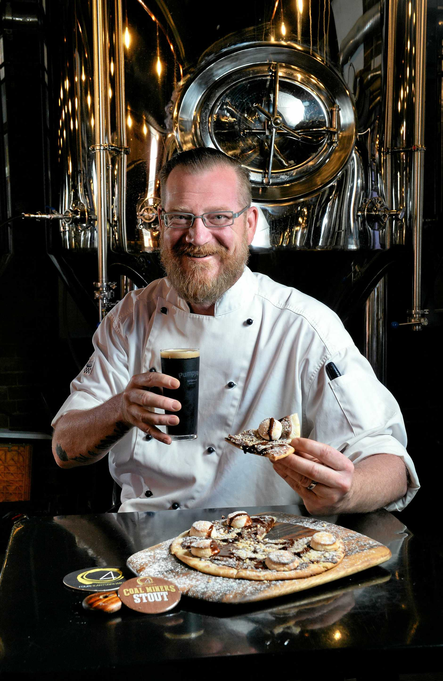 Pumpyard Bar and Brewery chef Garth Kelly with the new Smores pizza.