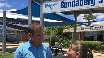 David Batt with Tricia Garson, treasurer of Bundaberg High School P&C.
