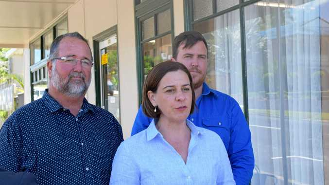 LNP deputy opposition leader Deb Frecklington joined LNP candidate for Keppel Peter Blundell (left) and LNP candidate for Rockhampton Douglas Rodgers to launch their free hearing tests policy.
