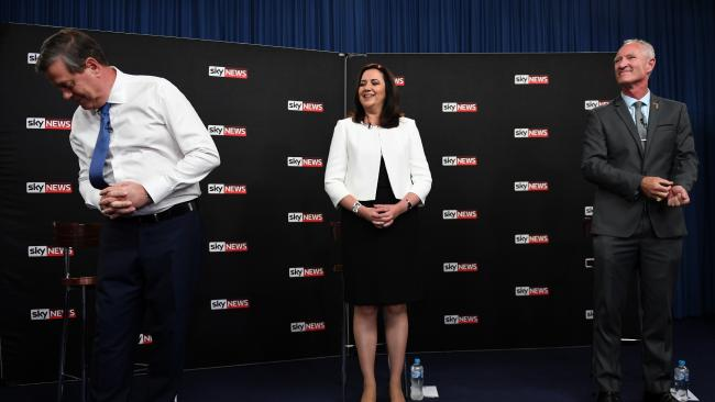 Opposition Leader Tim Nicholls (left), Premier Annastacia Palaszczuk One Nation leader Steve Dickson  at the forum. Picture: Dan Peled/AAP